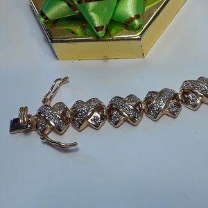 """.02ctw Diamond """"X"""" 925/14Kt 2Tone Bracelet #13721"""